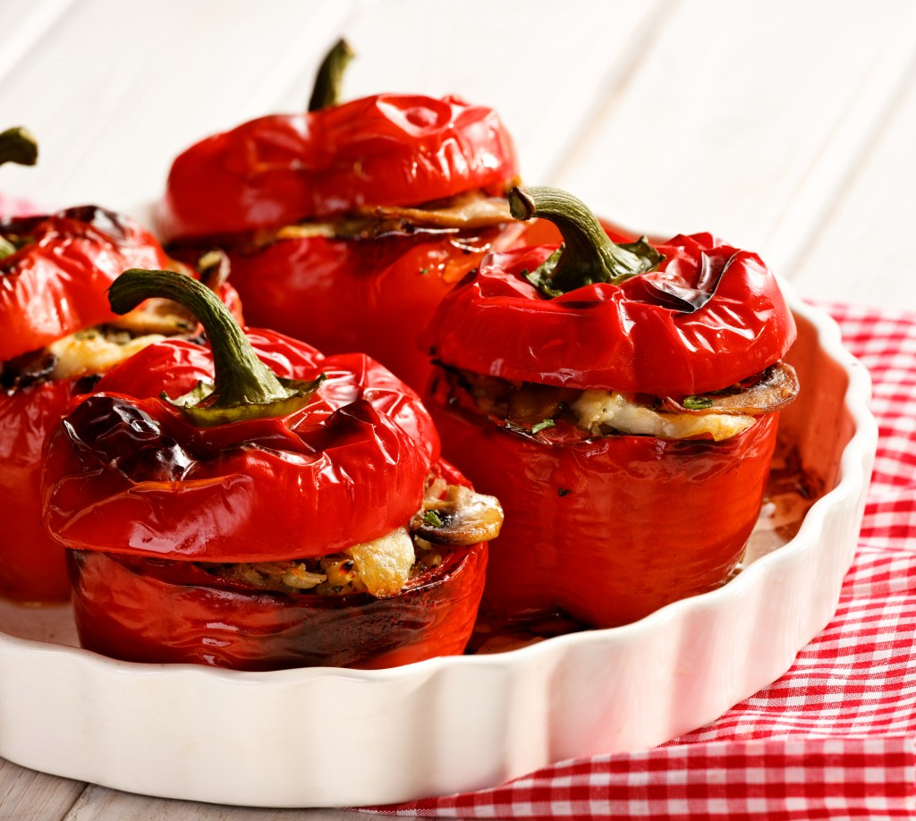 Roasted peppers stuffed with rice, cheese and