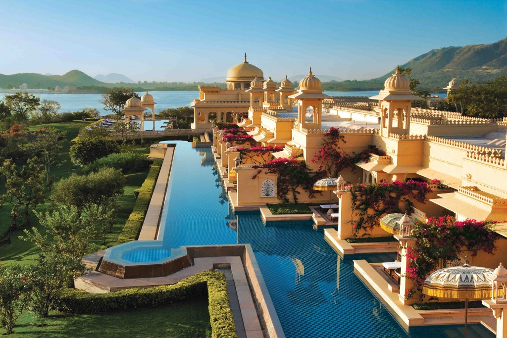 Sunrise over the deluxe rooms with semi private pool at the ultra luxurious Udaivil's Oberoi Hotel. Udaipur. This hotel has been voted the 3rd best hotel in the world by Travel and Leisure Magazine. India.