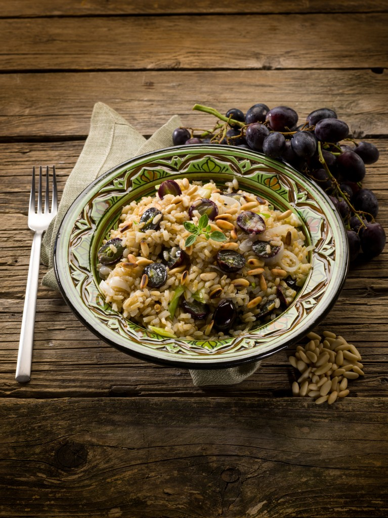 risotto with mushroom grape and pine cone, vegetarian food