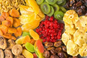 Mix of dried and candied fruit background