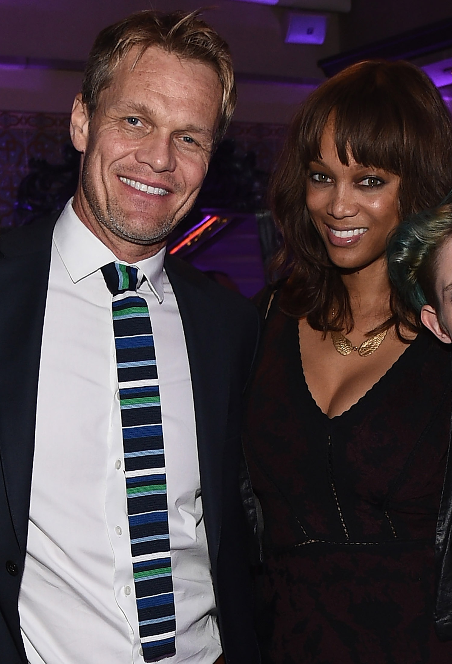 BEVERLY HILLS, CA - NOVEMBER 19:  (L-R) Designer August Getty, photographer Erik Asla, model Tyra Banks and model Natalia Getty attend the August Getty Atelier Dinner at the Montage Hotel Rooftop Grill on November 19, 2014 in Beverly Hills, California.  (Photo by Michael Buckner/Getty Images for August Getty Atelier)